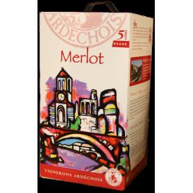Vin en cubi Merlot Ardèche Bib 5 litres Vignerons Ardéchois