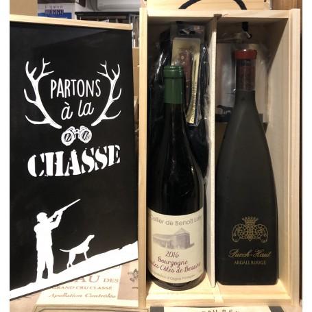 Coffret Partons à la Chasse, 2 bouteilles, 1 Laguiole, 1 flasque, 1 bonnet.